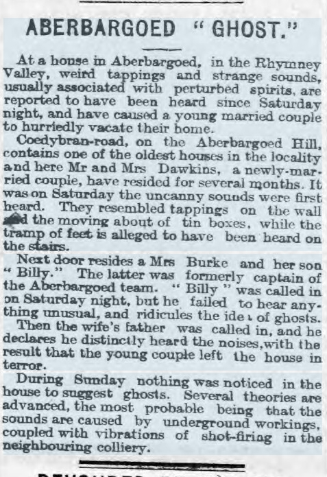 Aberbargoed Ghost (poss Poltergeist) 26 Jan 1907 Cardiff Times.jpg