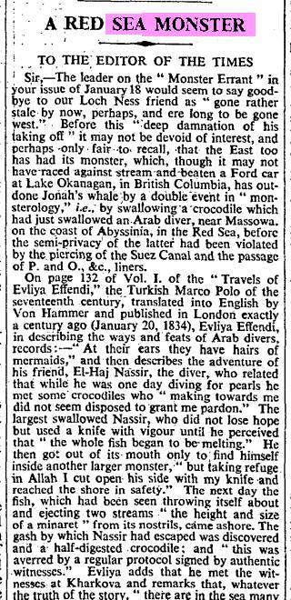 An aquatic monster from the 17th century diary of Evilya Çelebi Effendi 1611-1684. The Times.jpg
