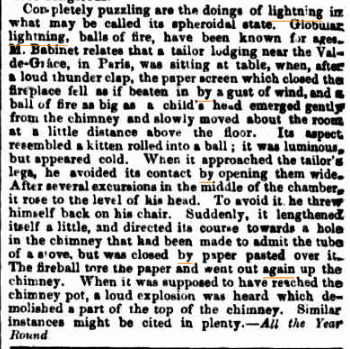 BALL LIGHTNING (part article) The Sydney Morning Herald NSW 26 Nov 1868.jpg
