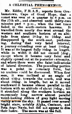 CELESTIAL PHENOMENON Oakleigh Leader (North Brighton, Vic 10 jan 1891.jpg