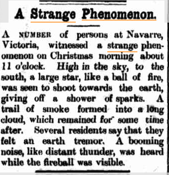 FIREBALL The Port Macquarie News and Hastings River Advocate NSW 10jan 1920.jpg