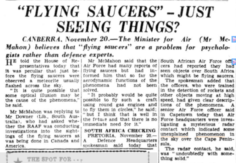 FLYING SAUCERS The Central Queensland Herald (Rockhampton QLD) 26 Nov 1953(1).jpg