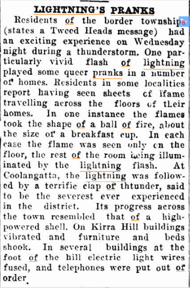 LIGHTNING PRANKS Northern Star (Lismore NSW 18 Febr 1929.jpg