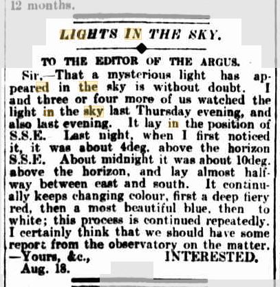 Lights in the Sky Austrailia The Argus 19 Aug 1909.JPG