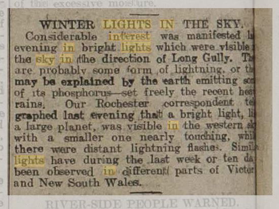 Lights in the sky Austrailia The Bendigo Independent 13 Aug 1909.JPG