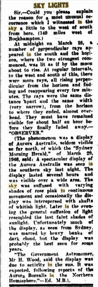 Lights in The Sky Austrailia The Central Queensland Herald 11 Apr 1946.JPG