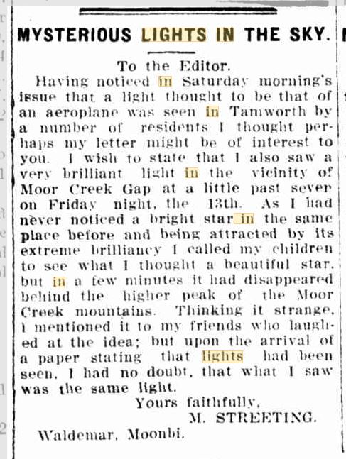 Lights in the Sky Austrailia The Tamworth Daily Observer 17 April 1916.JPG