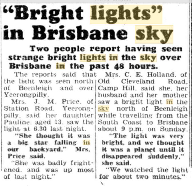 Lights in the Sky Austrialia Brisbane Telegraph 24 Nov 1953.JPG