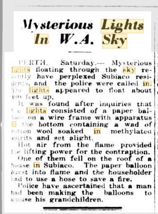 Lights in the sky Perth Austrailia Barrier Miner 16 March 1940.JPG