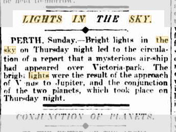 Lights in the sky Perth Austrailia The Argus 16 Aug 1909.JPG