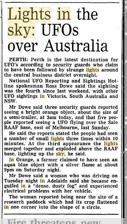 Lights In The Sky Perth Austrailia The Canberra Times 16 Dec 1994.JPG