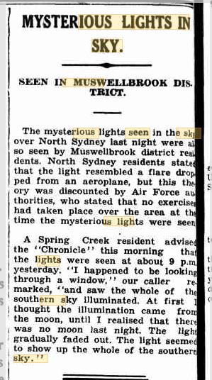 Lights in the Sky Sydney The Muswellbrook Chronical 29 sep 1942.JPG