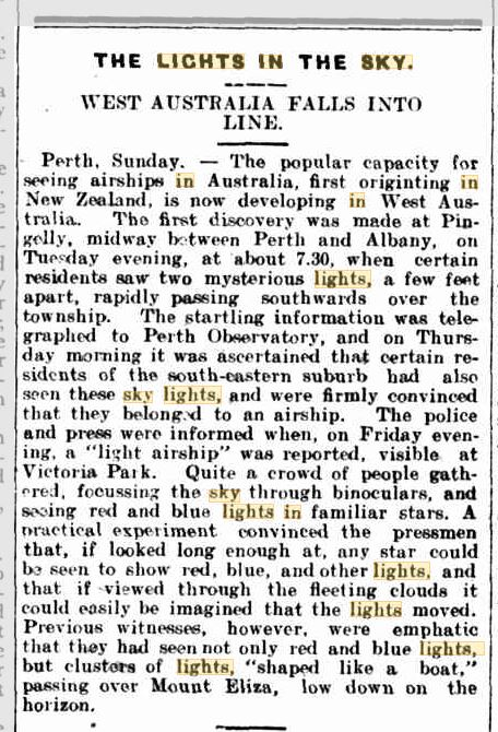 Lights in The Sky West Austrailia Goulburn Evening Penny Post 17 Aug 1909.JPG