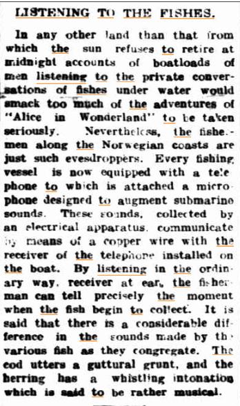 LISTENING TO THE FISHES Malvern Standard (Vic) 7 Dec 1912kopie.jpg