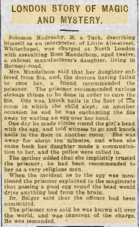 London Story of magic mystery and assult Evening Express 13 July 1901.JPG