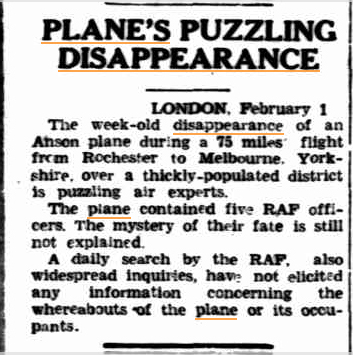 Planes disappearance  The Northern Miner(Charters Towers QLD 2 febr 1946.jpg