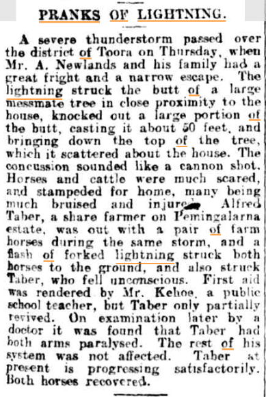Pranks of Lightning The Mercury (Hobart Tasm) 9 jan 1911.jpg