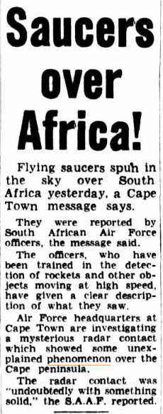 SAUCERS over Africa The Argus (Melbourne Vic) 21 Nov 1953.jpg