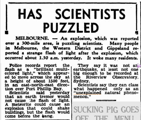 SCIENTISTS puzzled Advocate (Burnie TAS) 6 Nov 1951.jpg
