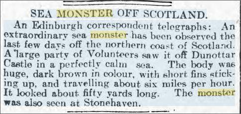 Sea Monster Dunottar Castle, Oct 1906 Denbigshire Free Press.jpeg