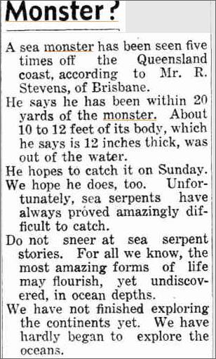 Sea Monster Queensland, The Daily News 2 June 1938.jpeg