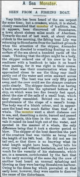 Sea Monster Stonehaven, Montgomeryshire Express and Radnor Times 12 Oct 1898.jpeg