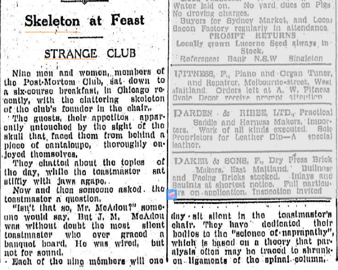 SKELETON AT FEAST The Maitland Daily Mercury NSW 9 Nov 1934.jpg