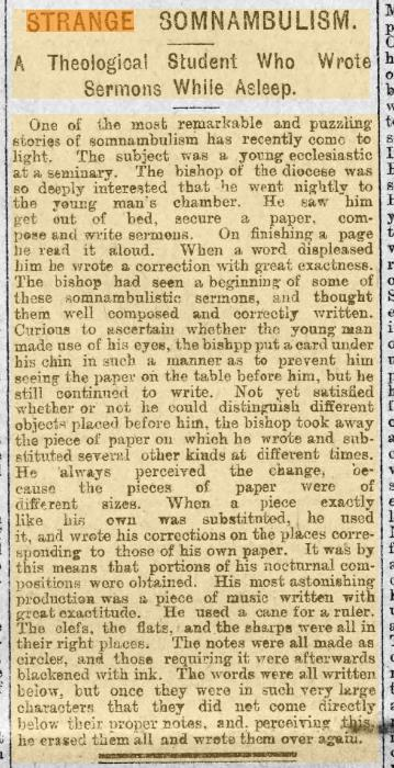 Sleep Writting Sermons Evening Express 8th February 1894.jpg