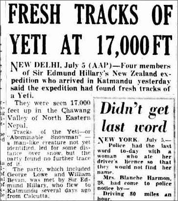 Yeti Fresh Tracks The Courier Mail, 6 July 1954.jpeg