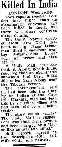 Yeti Killed in India, The Camberra Times 19 Jan 1956.jpeg