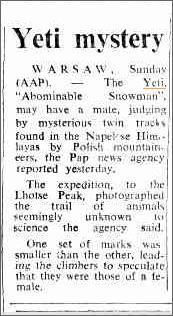 Yeti, Lhotse Peak Nepal, The Camberra Times 9 Dec 1974.jpeg