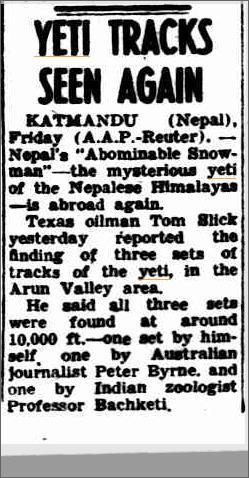 Yeti Nepal Tom Slick, The Canberra Times 20 April 1957.jpeg
