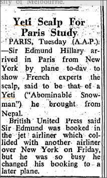 Yeti Scalp Paris Study, The Canberra Times 21 Dec 1960.jpeg
