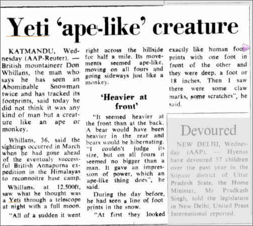 Yeti Sighting Nepal  The Canberra Times 11 June 1970.jpeg