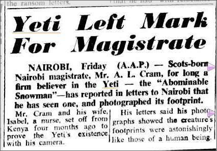 Yeti Sighting, The Camberra Time 22 Oct 1960.jpeg