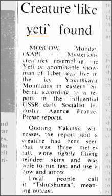 Yeti Yakutskaya Mountain Russia, The Canberra Times 27 April 1976.jpeg